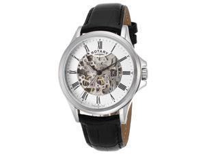 Rotary Gs00372-01 Men's Auto Black Genuine Leather Skeletonized Silver-Tone Dial Ss Watch