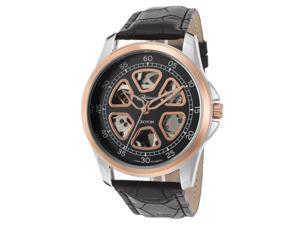 Croton Re306071rgbk Men's Reliance Auto Black Genuine Leather Black Dial Rose-Tone Bezel Watch