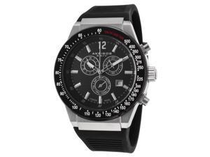Akribos Xxiv Ak680ss Men's Ultimate Chronograph Black Silicone, Dial And Bezel Ss Watch