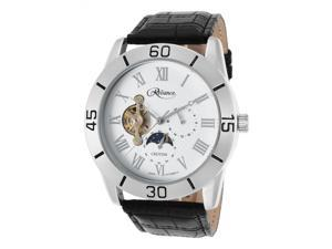 Croton Re306080ssdw Men's Reliance Automatic Black Genuine Leather White Dial 47mm Watch