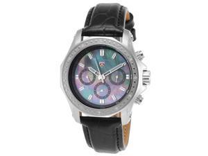 Swiss Legend 16200Sm-01 Islander Diamonds Black Genuine Leather Black Mop Dial Stainless Steel Watch