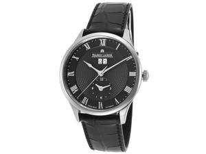 Maurice Lacroix Mp6707-Ss001-310 Men's Masterpiece Auto Dual Time Black Crocodile And Dial Ss Watch