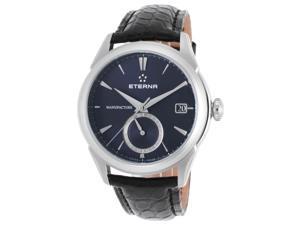 Eterna 7680-41-81-1175 Men's Soleure Auto Gmt Black Genuine Alligator Dark Blue Dial Ss Watch