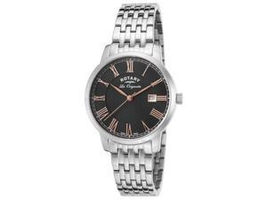 Rotary Gb90075-04 Men's Les Originales Stainless Steel Black Dial Stainless Steel Watch