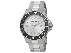 Akribos Xxiv Ak674ss Men's Stainless Steel Silver-Tone Dial Black Bezel Ss Watch