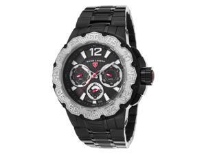 Swiss Legend 14097Sm-Bb-11-Sb Ultrasonic Multi-Function Black Ip Ss, Dial & Case Silver-Tone Bezel Watch