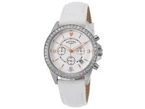 Rotary Ls00147-41 Women's Chrono White Genuine Leather And Dial Stainless Steel Watch
