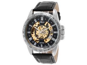 Croton Re306077ssdw Men's Reliance Auto Black Leather Gold-Tone Skeleton Dial Base Metal Watch