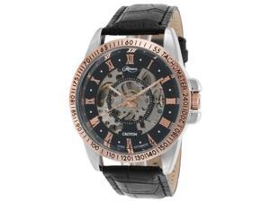 Croton Re306077ssrg Men's Reliance Auto Black Leather Skeletonized Dial Rose-Tone Accents Watch