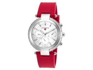 Swiss Legend 16175Sm-02-Rds Madison Diamond Multi-Function Red Silicone White Dial Stainless Steel Watch