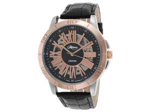Croton Re306076ssrg Men's Reliance Automatic Black Genuine Leather Rose-Tone Dial Watch
