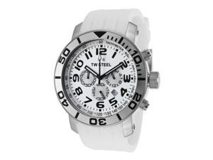 Tw Steel Tw95 Men's Grandeur Chrono White Rubber And Dial Watch