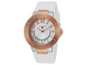 Swiss Legend 11315Sm-Sr-02-Wht Riviera White Silicone Silver-Tone Dial Stainless Steel Rose-Tone Bzl Watch