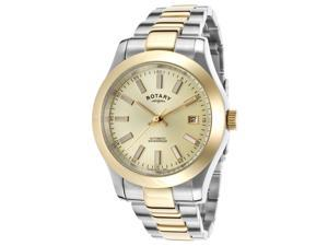 Rotary Gb00151-03 Men's Automatic Two-Tone Ss Gold-Tone Dial And Bezel Ss Watch