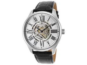Invicta 22566 Men's Vintage Automatic Black Genuine Leather Silver-Tone Dial Ss Watch