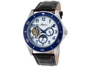 Croton Re306081ssbl-Blh Men's Reliance Auto Black Gen. Leather White Dial Blue Bezel & Hands Watch