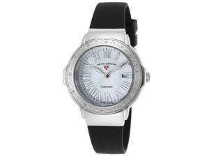 Swiss Legend 20032Dsm-02 South Beach Diamond Black Silicone White Mother Of Pearl Dial Watch
