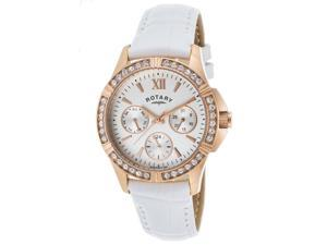 Rotary Ls60162-02 Women's White Genuine Leather Silver-Tone Dial Rose-Tone Ss Watch