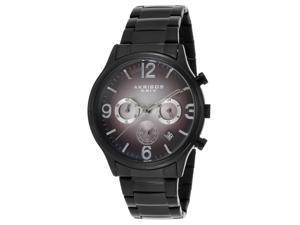 Akribos Xxiv Ak607blk Men's Ultimate Chrono Black Ip Ss Grey Gradient Dial Black Ip Ss Watch