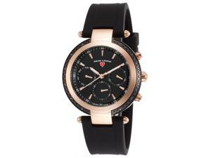 Swiss Legend 16175Sm-Rb-01 Madison Diamond Multi-Function Black Silicone And Dial Rose-Tone Bezel Watch