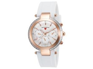 Swiss Legend 16175Sm-Sr-02-Wht Madison Diamond Multi-Function White Silicone And Dial Rose-Tone Bezel Watch