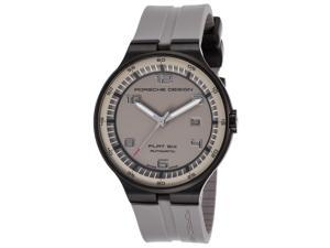 Porsche Design 6350-43-94-1255 Men's Flat 6 Auto Grey Rubber & Dial Black Ion Plated Stainless Steel Watch