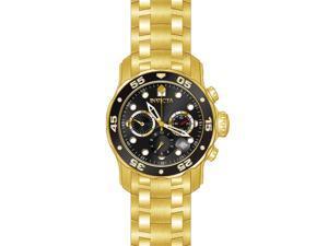 Invicta 21922 Men's Pro Diver Chronograph 18K Gp Ss Black Dial 18K Gp Ss Watch