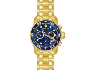 Invicta 21923 Men's Pro Diver Chronograph 18K Gp Ss Blue Dial 18K Gp Ss Watch