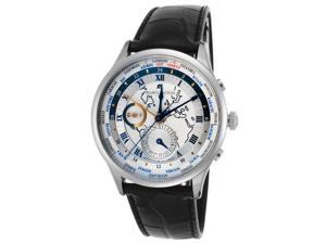 Maurice Lacroix Mp6008-Ss001-111 Men's Masterpiece Automatic Gmt Black Leather Silver-Tone Dial Ss Watch