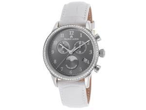 Maurice Lacroix Lc1087-Sd501-820 Women's Les Classiques Diamond Chrono White Gen. Leather Grey Dial Ss Watch