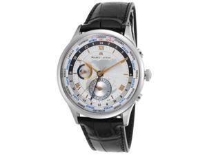 Maurice Lacroix Mp6008-Ss001-110 Men's Masterpiece Automatic Gmt Black Gen Crocodile Silver-Tone Dial Watch