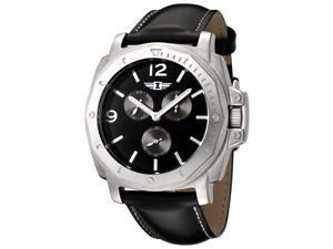 I By Invicta 41703-001 Men's Multi-Function Black Genuine Leather Contrast Stitch Watch