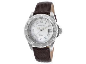 Invicta 18398 Women's Angel Brown Genuine Leather Mother Of Pearl Dial Watch