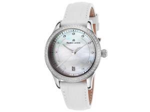 Maurice Lacroix Lc1026-Sd501-170 Women's Les Classiques Diamond White Genuine Leather Mop Dial Watch
