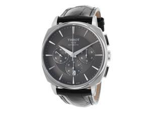 Tissot T0595271605100 Men's T-Lord Automatic Chrono Black Genuine Leather Charcoal Dial Ss Watch