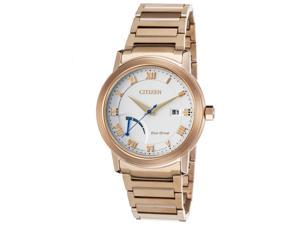 Citizen Aw7023-52A Mens Power Reserve Rose-Tone Stainless Steel White Dial Watch