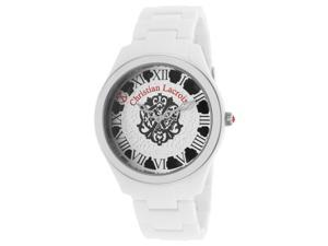 Christian Lacroix 8007101 Women's White Acetate White And Black Dial Acetate Watch
