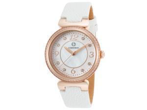 Cabochon 16561-Rg-02-Whs Saga White Genuine Leather Mother Of Pearl Dial Rose-Tone Case Watch
