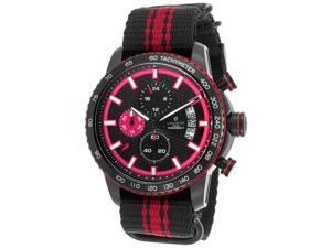Lancaster Italy Ola1064t-Bk-Nr-Nr Men's Freedom Chronograph Black & Red Nylon Black Dial & Ion Plated Ss Watch