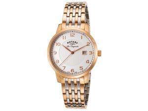Rotary Gb90080-04 Men's Les Originales Two-Tone Ss Silver-Tone Dial Rose-Tone Ss Watch