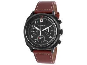 Bulova 98B245 Men's Classic Chronograph Brown Genuine Leather Black Dial And Ip Ss Watch