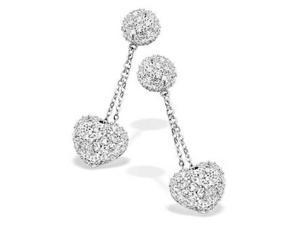 Celebrity Inspired C.Z. Diamond Heart Dangling Earrings