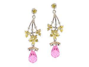 Flower Dangling Earrings S/S Gem Stone Jewelry