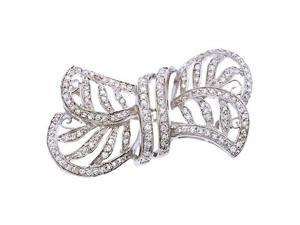 Cubic Zirconia S/S Bow Pin Brooch