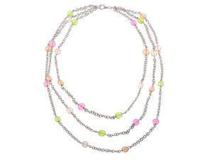 Soho Layered Colored Gemstone Silver Necklace