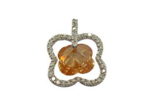 C.Z. (.925) S/S And Flower Champaign Rhodium Plated Pendent