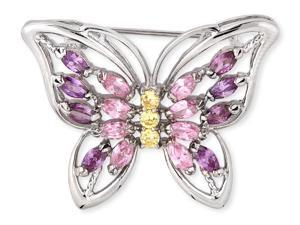 Marquise C.Z. Pink Sapphire Amethyst Round Canary Butterfly Pin