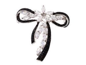 Black & C.Z. Diamond Silver Bow Brooch Pin