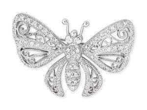 Filigree C.Z. Diamond S/S Butterfly Brooch