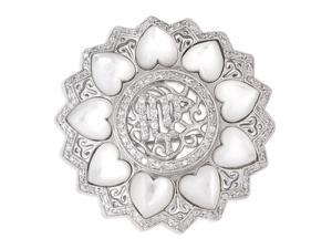 Round Mother-Of-Pearl Heart All Around With Filigree S/S Pin